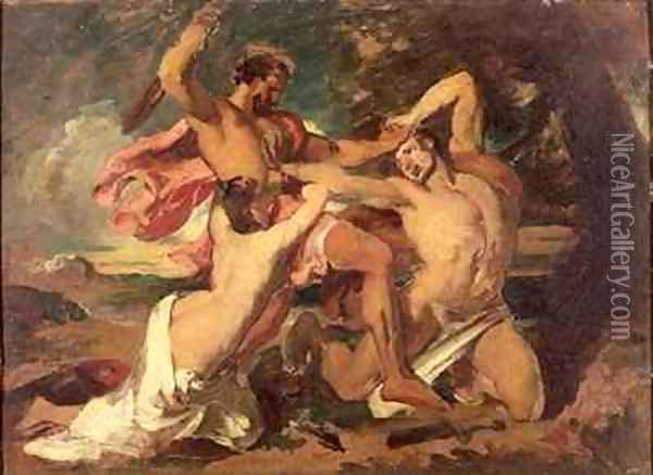 The Combat Woman pleading for the vanquished Oil Painting - William Etty