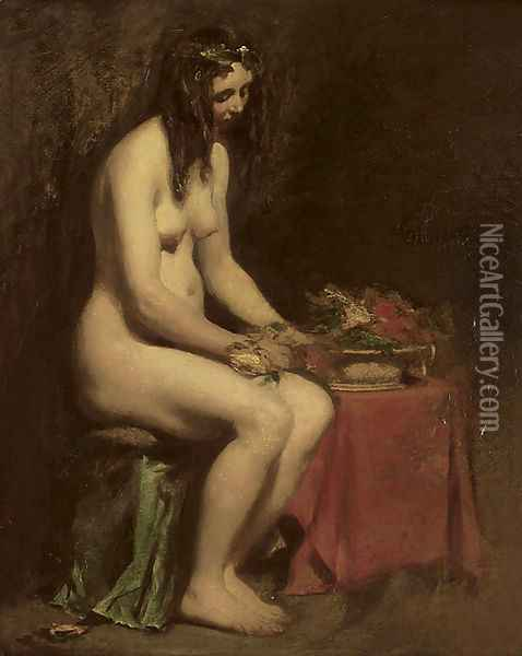 A seated female nude Oil Painting - William Etty