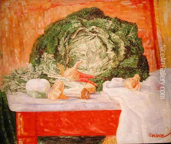 Curly Cabbage Oil Painting - James Ensor