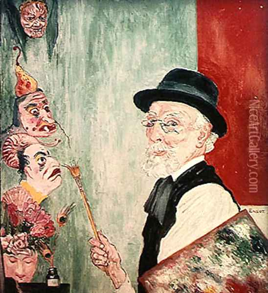 Self Portrait with Masks. 1936 Oil Painting - James Ensor