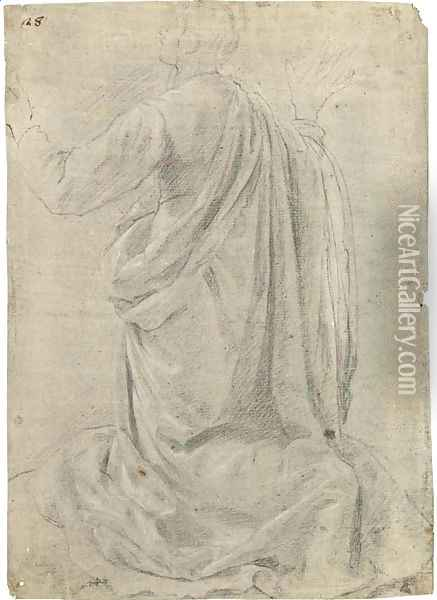 A kneeling figure seen from behind, his arms raised Oil Painting - (Jacopo Chimenti) Empoli