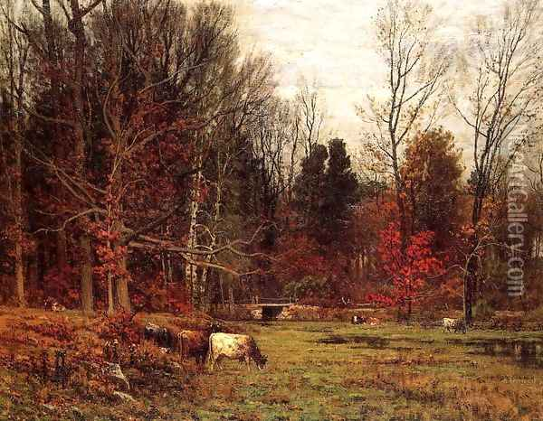 Cattle Grazing Oil Painting - John Joseph Enneking