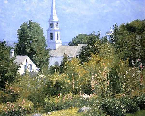 Hollyhocks Garden, Mystic, Connecticut Oil Painting - John Joseph Enneking