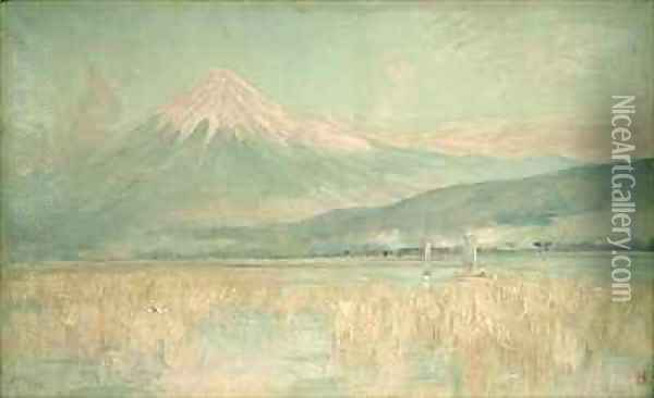 Dawn on the Sacred Mountain the Fuji sun Half Hidden in the Clouds Oil Painting - Sir Alfred East