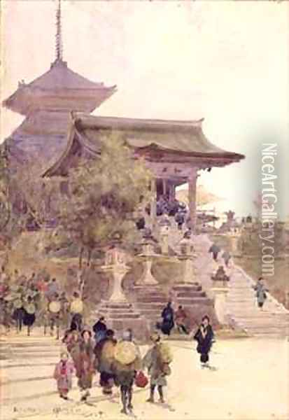 The Entrance to the Temple of Kiyomizu Dera Kyoto with Pilgrims ascending Oil Painting - Sir Alfred East