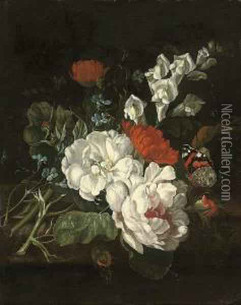 Roses, Marigolds And Snap Dragons On A Ledge With A Red Admiralbutterfly Oil Painting - Rachel Ruysch