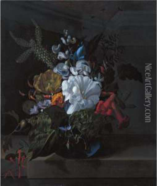 A Still Life With Devil's  Trumpet, A Cactus, A Fig Branch, Honeysuckle And Other Flowers In A Blue  Glass Vase Resting On A Ledge Oil Painting - Rachel Ruysch