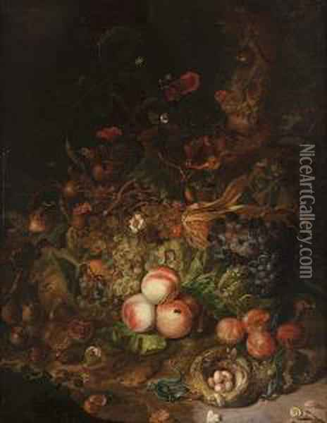 A Forest Floor Still Life With  Grapes, Peaches, Plums And Other Fruit Along With Snails, A Lizard And  Other Animals Oil Painting - Rachel Ruysch