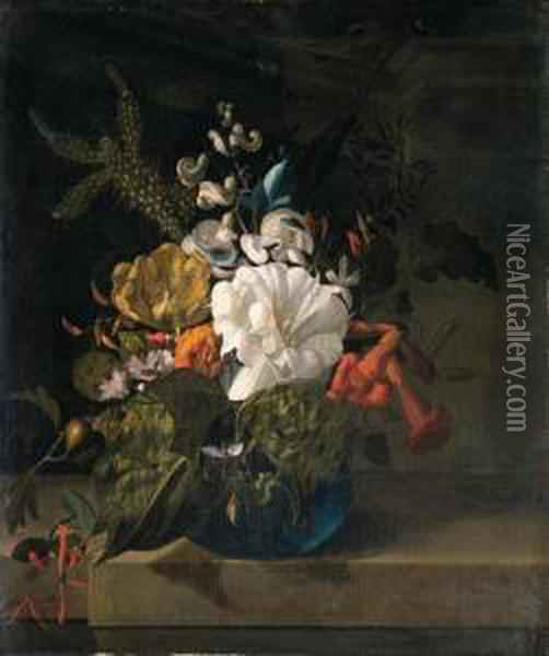 A White Gentian, A Cactus, A Tulip And Exotic Flowers In A Glassvase On A Ledge Oil Painting - Rachel Ruysch