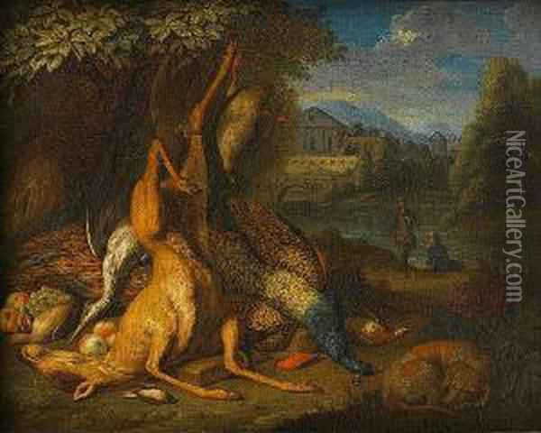 A Dead Deer, Peacock, Heron And  Other Birds At The Foot Of A Tree, A Dog Asleep Nearby And Huntsmen  Beyond Oil Painting - Pieter Andreas Rysbrack
