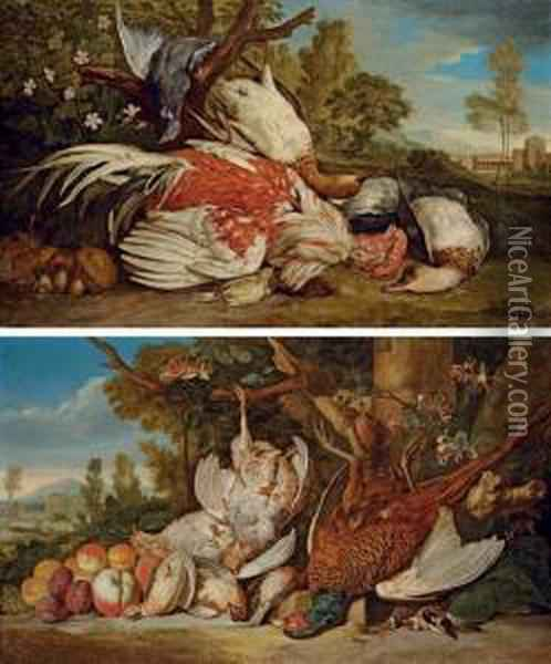 A Dead Cockerel, Ducks, A  Pigeon, A Greenfinch And Mushrooms In An Italianate Landscape; And A  Dead Pheasant, Partridges, Goldfinches, Quails And Apricots, Plums And  Peaches In An Italianate Landscape Oil Painting - Pieter Andreas Rysbrack