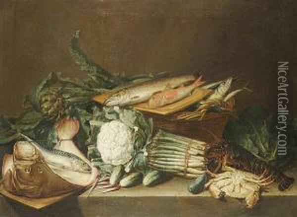 Asparagus, Artichokes, A  Cauliflower And Other Vegetables On A Stone Ledge With A Dead Skate,  Mackerel, Red Mullet And A Trout Oil Painting - Pieter Andreas Rysbrack