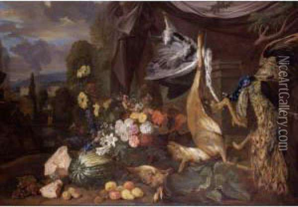 Still Life With Flowers And Fowl Oil Painting - Pieter Andreas Rysbrack