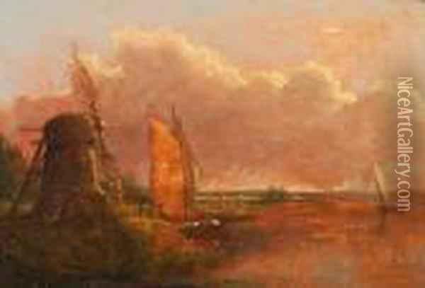 Boats Near A Drainage Mill Oil Painting - Anthony Sandys