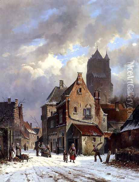 Figures In A Snowy Village Street Oil Painting - Adrianus Eversen