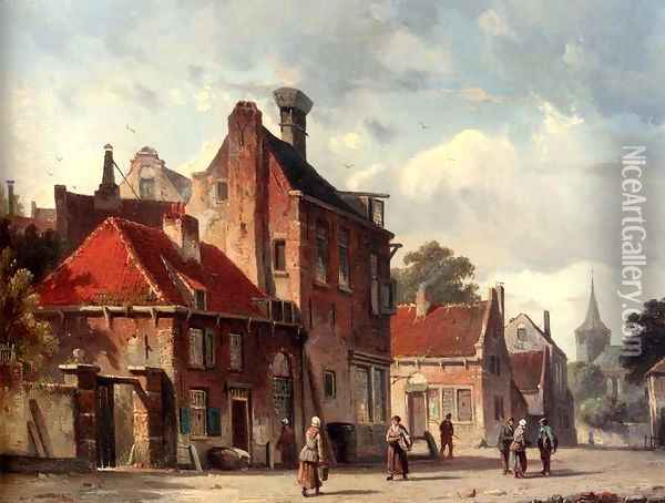 View Of a Town With Figures In A Sunlit Street Oil Painting - Adrianus Eversen