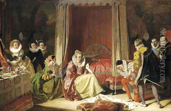 Queen Elizabeth discovers she is no longer young Oil Painting - Augustus Leopold Egg