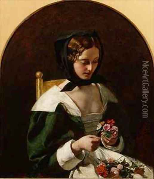 Girl Making a Bouquet of Flowers Oil Painting - Augustus Leopold Egg