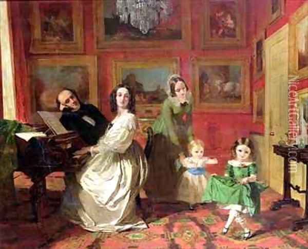 The Rev and Mrs Palmer Lovell with their daughters Georgina and Christina Oil Painting - Augustus Leopold Egg