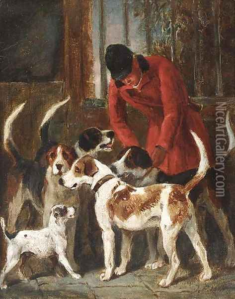 A huntsman with hounds and a terrier by a kennel door Oil Painting - John Emms