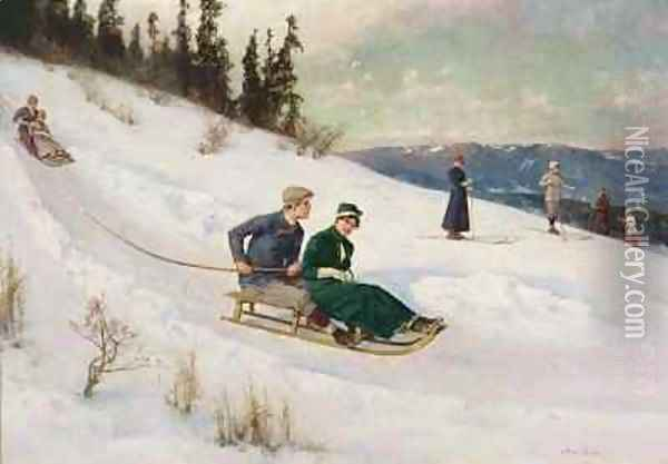 Sledge Riding and Skiing Oil Painting - Axel Ender