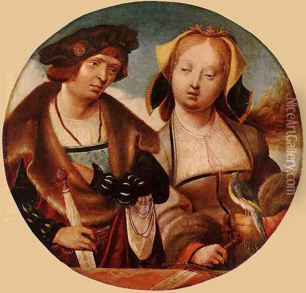St Cecilia and her Fiance 1518-20 Oil Painting - Cornelius Engebrechtsz
