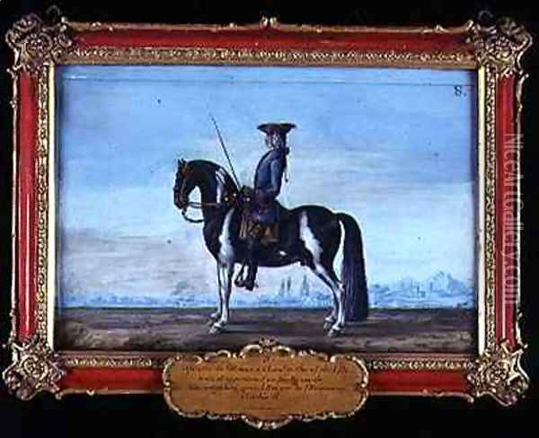 No 8 A piebald horse and rider from the Spanish Riding School the horse belonging to the late Prince of Schwartzenberg equerry to Emperor Charles VI Oil Painting - Baron Reis d' Eisenberg