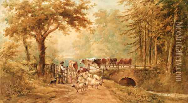 A shepherd driving cattle and sheep over a bridge in a wooded landscape Oil Painting - Henry Earp