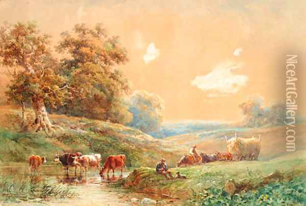 Figures with a horse and cart and cattle watering by a stream Oil Painting - Henry Earp