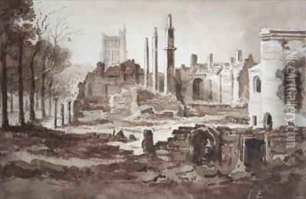 The Ruins of the Customs House Bristol Oil Painting - The Rev. John Eagles