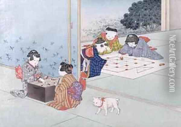 Backgammon and Musashi from the series Childrens Games Oil Painting - Kobayashi Eitaku