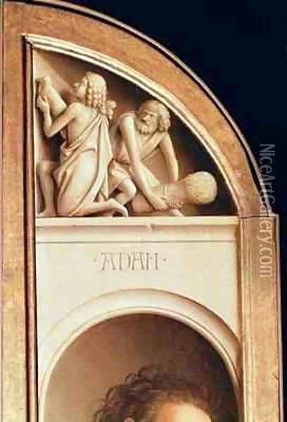 The Offerings of Cain and Abel interior of left hand wing of The Ghent Altarpiece Oil Painting - Hubert & Jan van Eyck