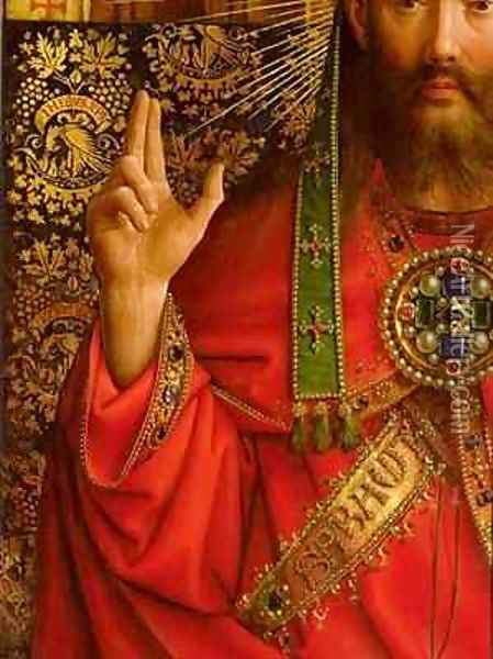 God the Father detail from the central panel of the Ghent Altarpiece Oil Painting - Hubert & Jan van Eyck