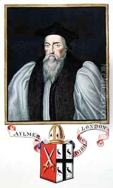 Portrait of John Aylmer 1521-94 Bishop of London from Memoirs of the Court of Queen Elizabeth Oil Painting - Sarah Countess of Essex