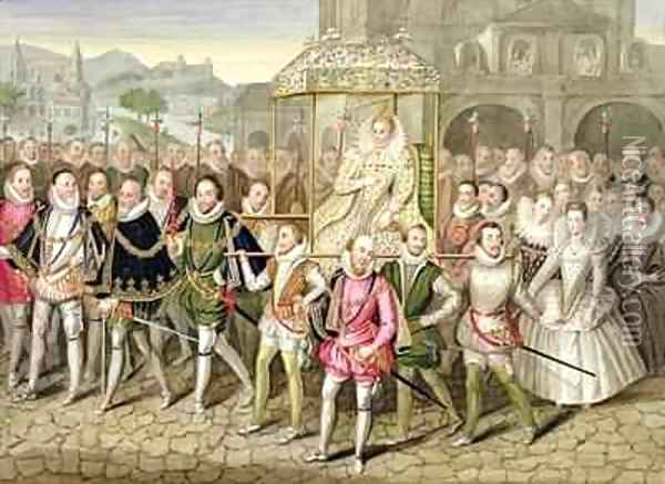Queen Elizabeth I in procession with her Courtiers from Memoirs of the Court of Queen Elizabeth Oil Painting - Sarah Countess of Essex