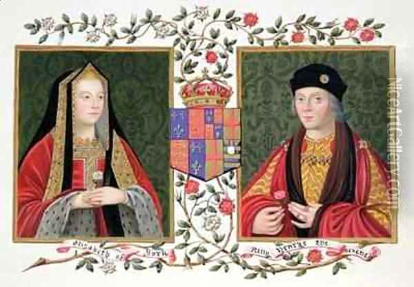 Double portrait of Elizabeth of York and Henry VII holding the white rose of York and the red rose of Lancaster from Memoirs of the Court of Queen Elizabeth Oil Painting - Sarah Countess of Essex