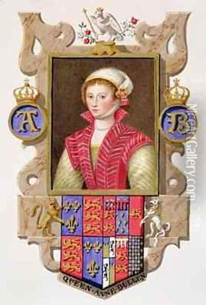 Portrait of Anne Boleyn 2nd Queen of Henry VIII from Memoirs of the Court of Queen Elizabeth Oil Painting - Sarah Countess of Essex