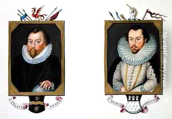 Double portrait of Sir Francis Drake and Sir Martin Frobisher from Memoirs of the Court of Queen Elizabeth Oil Painting - Sarah Countess of Essex