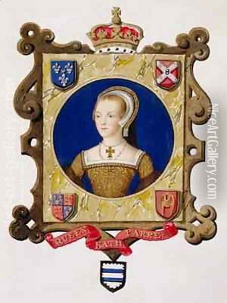 Portrait of Catherine Parr 6th Queen of Henry VIII as a Young Woman from Memoirs of the Court of Queen Elizabeth Oil Painting - Sarah Countess of Essex