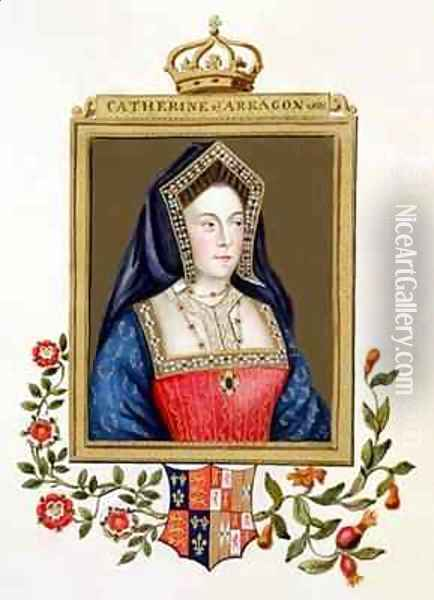 Portrait of Catherine of Aragon 1st Queen of Henry VIII from Memoirs of the Court of Queen Elizabeth Oil Painting - Sarah Countess of Essex