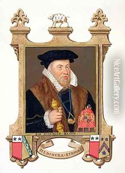 Portrait of Sir Nicholas Bacon from Memoirs of the Court of Queen Elizabeth Oil Painting - Sarah Countess of Essex
