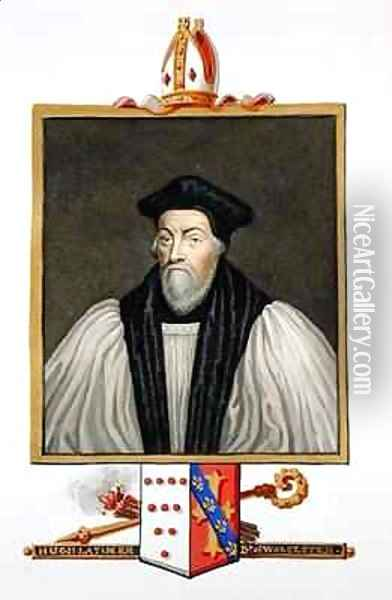 Portrait of Hugh Latimer Bishop of Worcester from Memoirs of the Court of Queen Elizabeth Oil Painting - Sarah Countess of Essex