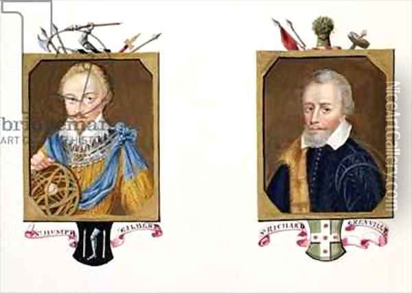 Double portrait of Sir Humphrey Gilbert and Sir Richard Grenville from Memoirs of the Court of Queen Elizabeth Oil Painting - Sarah Countess of Essex