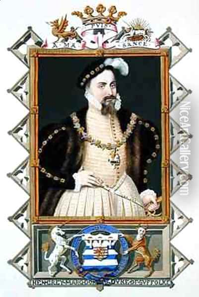 Portrait of Henry Grey Duke of Suffolk from Memoirs of the Court of Queen Elizabeth Oil Painting - Sarah Countess of Essex