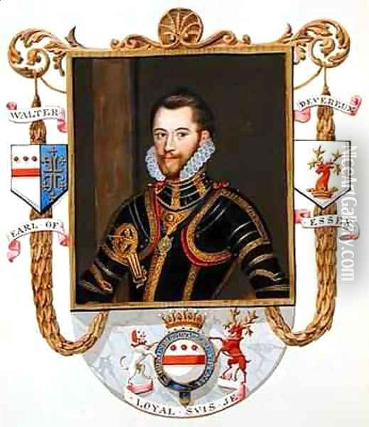 Portrait of Walter Devereux 1st Earl of Essex from Memoirs of the court of Queen Elizabeth Oil Painting - Sarah Countess of Essex