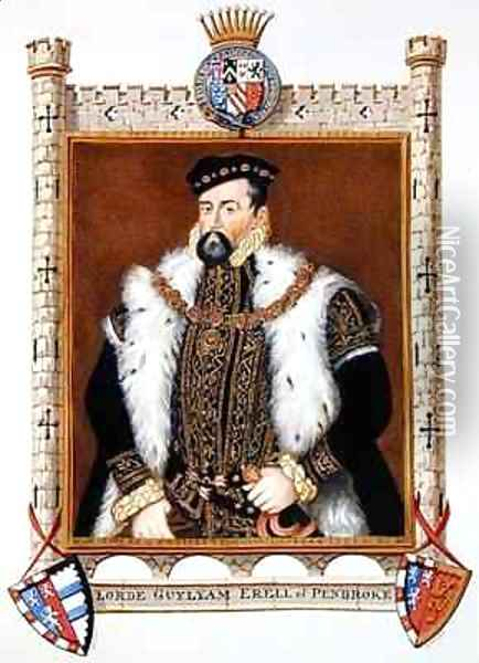 Portrait of William Herbert 1st Earl of Pembroke from Memoirs of the Court of Queen Elizabeth Oil Painting - Sarah Countess of Essex