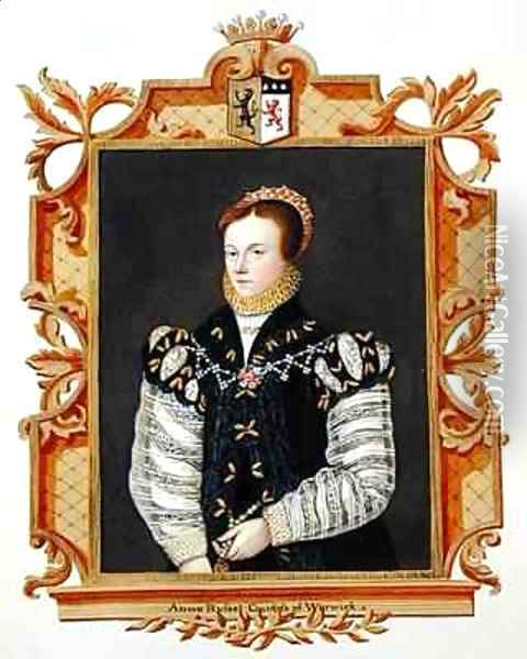 Portrait of Anne Russell Countess of Warwick from Memoirs of the Court of Queen Elizabeth Oil Painting - Sarah Countess of Essex