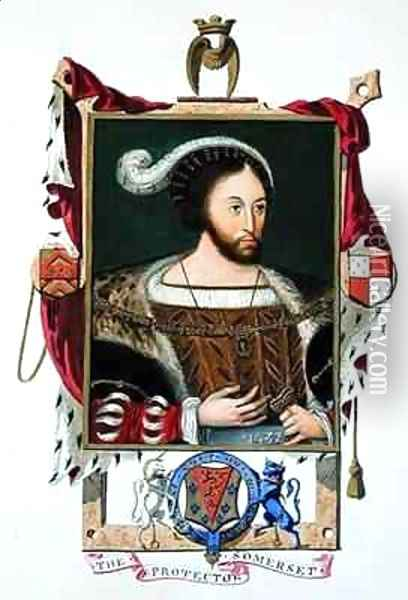 Portrait of Edward Seymour Lord Protector of Edward VI and Duke of Somerset from Memoirs of the Court of Queen Elizabeth Oil Painting - Sarah Countess of Essex