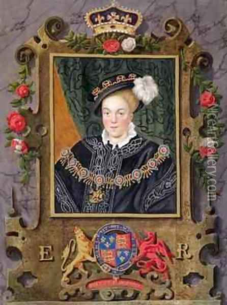 Portrait of Edward VI King of England aged about 14 from Memoirs of the Court of Queen Elizabeth Oil Painting - Sarah Countess of Essex