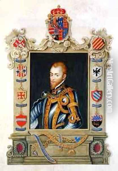 Portrait of Philip II King of Spain 1527-98 from Memoirs of the Court of Queen Elizabeth Oil Painting - Sarah Countess of Essex